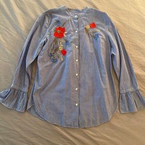 Striped button down shirt with embroidery